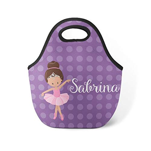 (Ballerina Personalized Lunch Tote - Purple Dots Ballet Lunch Bag, Ballerina Neoprene Lunch Tote Bag, You Pick Girl - Kids Personalized Gift)