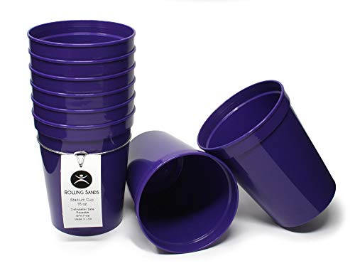 Rolling Sands 16 Ounce Reusable Plastic Stadium Cups Purple, 8 Pack, Made in USA, BPA-Free Dishwasher Safe Plastic Tumblers