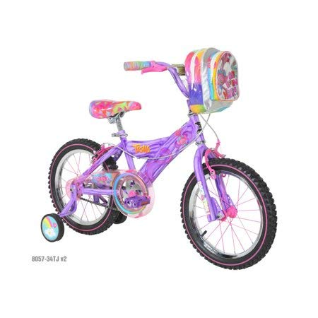 """Gorgeous,Delightful and Dazzling 16"""" Girls Trolls Bicycle,with Beautiful Marbled Purple Frame,Translucent Double-Decker Handlebar Bag,Adjustable and Removable Training Wheels,Great Gift Idea"""