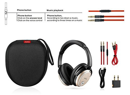 JAZZA ANC-J2 Foldable Stereo Active Noise Cancelling Headphones for Cellphone Smartphone Iphone/ipad/laptop/tablet/computer/MP3/MP4/etc, Strong Bass, Folding and Lightweight Travel Headset (Gold) by JAZZA (Image #6)
