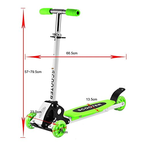 Ouyilu New Cute Kids Adjustable Folding Alloy Three Wheels Foot Scooter for Boys Girls Children Kick Scooter Green US Stock