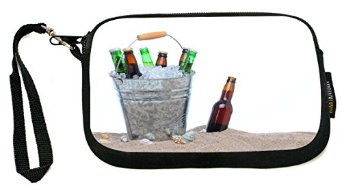 Rikki Knight Beer bottles in ice at Beach - Neoprene Clutch Wristlet Coin Purse with Safety Closure - Ideal case for Cosmetics Case, Camera Case, Cell Phones, Passport, etc..