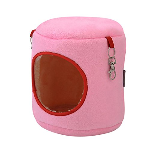 Mikey Store Warm Bed Rat Hammock Squirrel Winter Toys Pet Hamster Cage House Hanging Nest (Pink, S)
