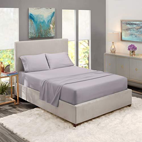 Nestl Bedding Soft Sheets Set - 4 Piece Bed Sheet Set, 3-Line Design Pillowcases - Easy Care, Wrinkle - 10