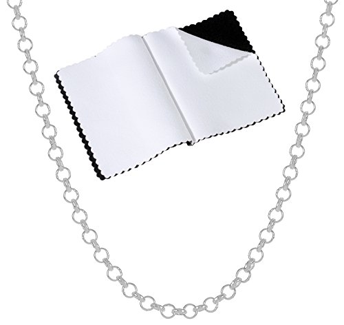 Sterling Silver Rolo Link Chain - 925 Sterling Silver Nickel-Free 2mm Rolo Cable Link Chain, 18 inches - Made in Italy + Bonus Cloth