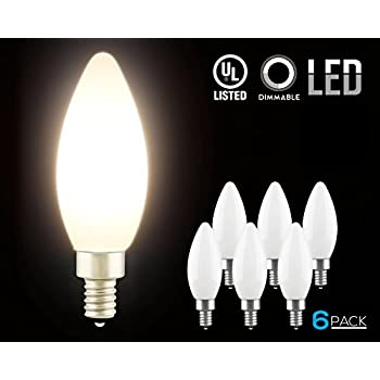 Amazon led dimmable frosted glass filament candelabra bulb led dimmable frosted glass filament candelabra bulb 45w 60w equiv c11 aloadofball Image collections
