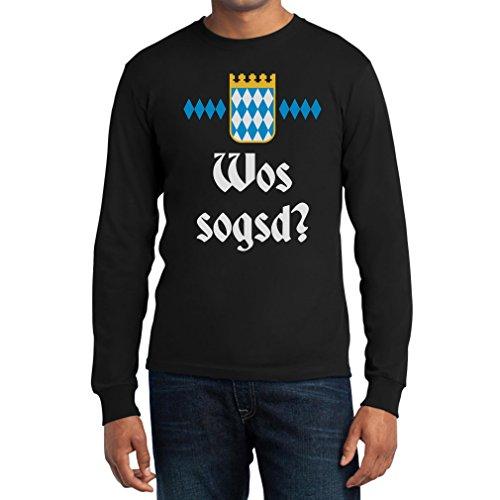 Wos Sogsd? Was Sagst Du auf Bayrisch. Wiesn Oktoberfest. Langarm T-Shirt Medium Schwarz