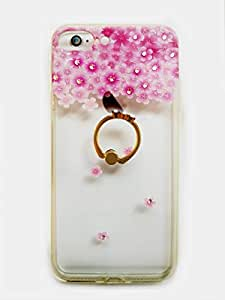 Apple IPhone 7 & 6 Transparent Case With Gold Grip, Stone Decoration & Design Pattern