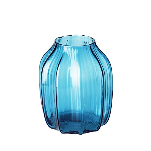 CASAMOTION Vases Hand Blown Solid Color Home Decor Centerpieces Gift Art Ribbed Glass Vase, Blue, 8