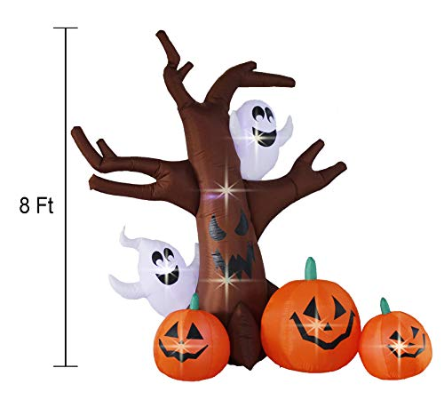 Bigjoys 8 Ft Halloween Inflatable Tree with Ghost Pumpkin Decoration for Indoor Outdoor Home Yard Party by Bigjoys (Image #1)