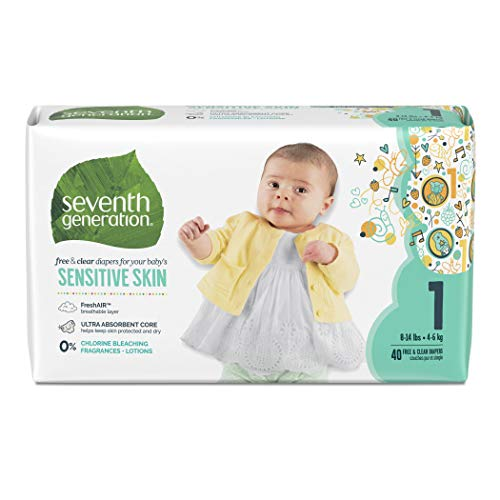 Seventh Generation Free and Clear Sensitive Skin Size 1 Baby Diapers with Animal Prints 160 Count (7th Generation Size 1)