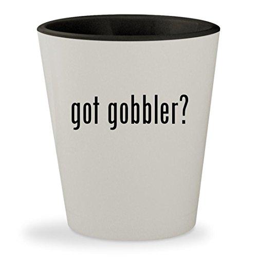 Lil Gobbler (got gobbler? - White Outer & Black Inner Ceramic 1.5oz Shot Glass)
