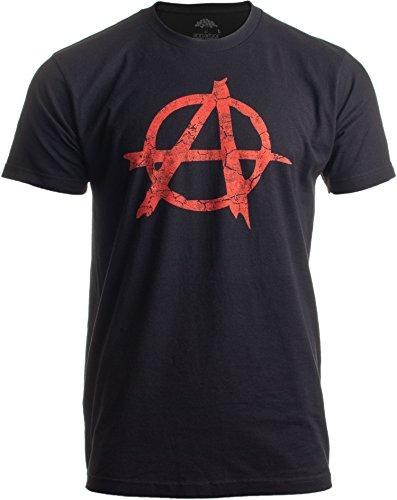 ANARCHY DISTRESSED SYMBOL Unisex T-shirt/Anarchist, Punk, Riot, Disorder Tee-Black-XX-Large