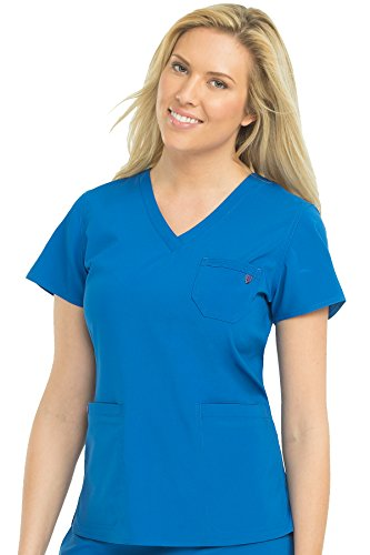 Med Couture Energy V-Neck 3 Pocket Classic Scrub Top for Women, Royal, Medium from Med Couture