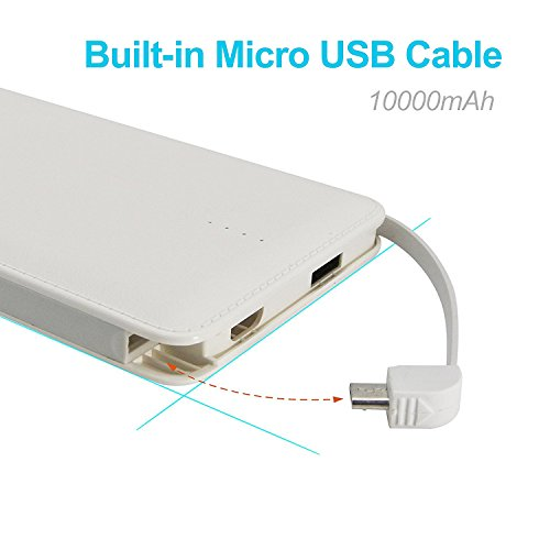Bestoss 10000mAh Portable Charger Power Bank  External Battery Packs Travel Charger Built-in Lightning and Micro USB Cable for Cell Phone -White