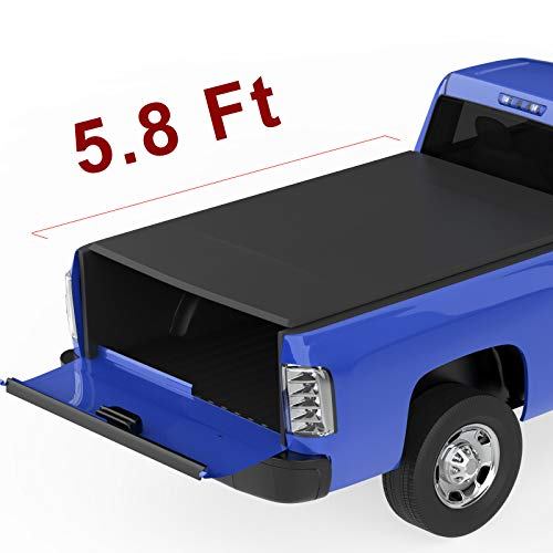 oEdRo Roll Up Truck Bed Tonneau Cover Compatible with 2014-2019 Chevy Silverado/GMC Sierra 1500 (2019 Only Fits Classic or Legendary)| Fleetside 5.8 Feet Bed | for Models Without Utility Track System