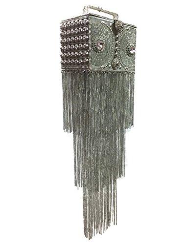 único Bolso de plata nupcial Bolso cuadrado hecho a mano de largo bordeo de metal Monederos de embrague de cristal para las mujeres Rhinestones de cristal ornamento Bolso de la honda