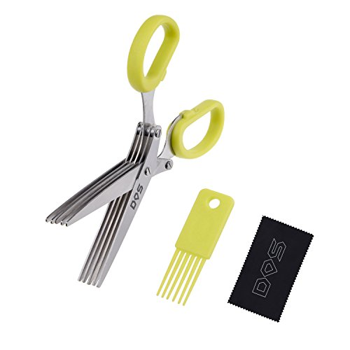 Herb Scissors - 5 Sharp Blades - Diamond Shield Package - Cuts, Slices and Chops Herbs 5x Faster - Ideal Time-Saving Kitchen Essential - Cleaning Rake Included - Stainless Steel - Dishwasher Safe - Own Salad