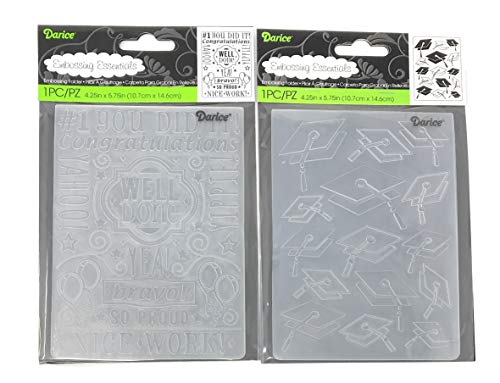 (Darice Embossing Folder Bundle: Well Done and Graduation Hats, Each 4.25