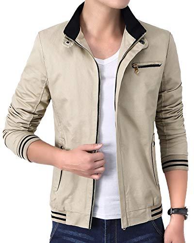 Jacket Windbreaker Coats Stand Retro Khaki AnyuA Military Collar Mens with qtWaHaPn