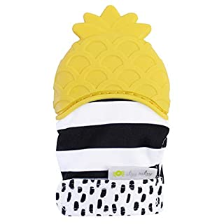 Itzy Ritzy Silicone Teething Mitt – Soothing Infant Teething Mitten with Adjustable Strap, Crinkle Sound and Textured Silicone to Soothe Sore and Swollen Gums, Pineapple