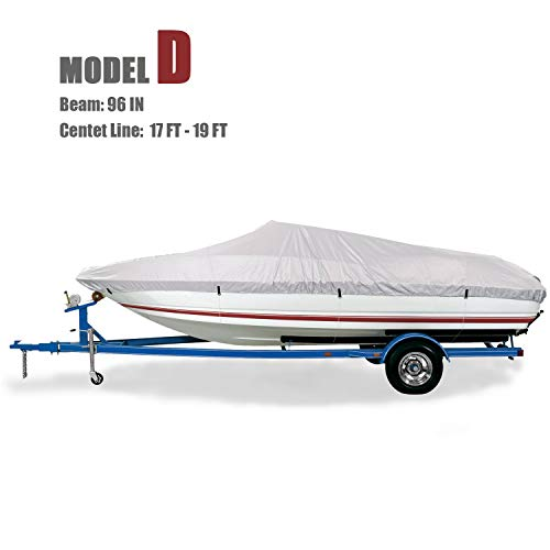 GOODSMANN Trailable Marine Grade Boat Cover Heavy Duty 600D Fits V-Hull Runabouts Aluminum Fishing Pro-Style Bass Boats D Fit 17-19Ft Beam Width to 96in 9921-0122-34