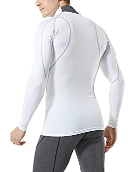 Tesla Tm-mut12-wht_large Men's Mock Long-sleeved T-shirt Cool Dry Compression Baselayer Mut12 2