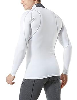Tesla Tm-mut12-wht_large Men's Mock Long-sleeved T-shirt Cool Dry Compression Baselayer Mut12 2