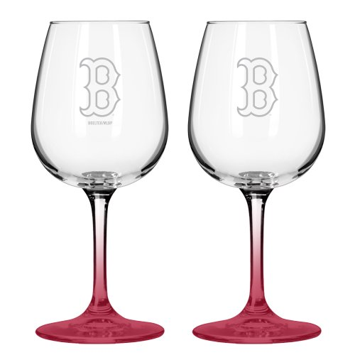 Boelter Brands MLB Boston Red Sox Satin Etch Wine Glass, 16-Ounce, 2-Pack (Sox Glass Set Rock)