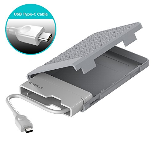 ineo USB 3.1 Gen 2 Type C (10Gbps) Tool-less External Hard Drive Enclosure for 2.5 inch 9.5mm & 7mm SATA HDD SSD USB-C Screwless [C2578c] by ineo