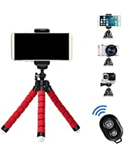 APSZST Phone Tripod, Portable and Adjustable Tripod Stand Holder with Remote for iPhone, Android Phone,Camera with Universal Clip and Remote