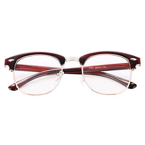 COASION Classic Vintage Clear Clubmaster Glasses for Men Women Horn Rimmed Half Frame Eyeglasses(Brown Frame/Clear Lens)