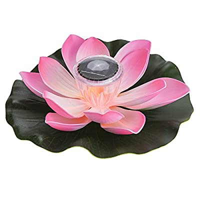 Lixada 0.1W Solar Powered Multi-Colored LED Lotus Flower Lamp RGB Water Resistant Outdoor Floating Pond Night Light Auto On/Off for Garden Pool Party Ideal Gift