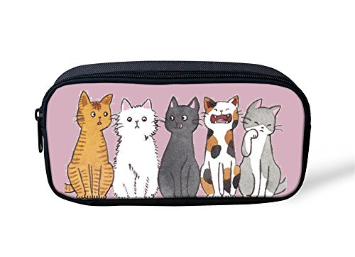 Sannovo Cool Stationery Pen Bag Zipper Pencil Cases Cat Ice - Printed Custom Highlighters