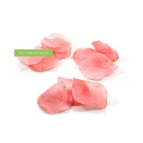 (We Can Package 300 Silk Rose Petals for Wedding Centerpieces Decorations Aisle Runner Confetti Flower Petals (Coral) )
