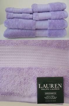 Ralph Lauren 6 piece ~ GREENWICH ~TOWEL set PANSY Light Purple; 2 Bath, 2 Hand, 2 Washcloths by Polo Ralph Lauren Home Collection Showroom LLC