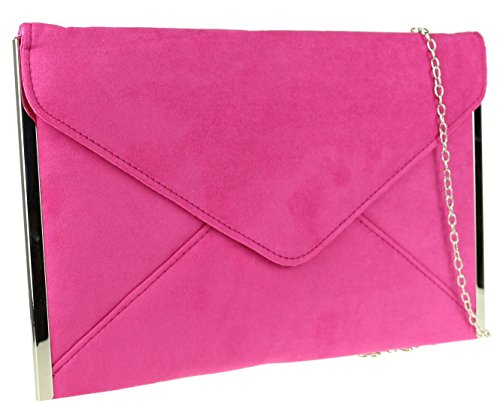 Sides Frame Design Elegant Faux Clutch Suede Bag HandBags Plain Fuchsia Wedding Envelope Girly Prom wvz8q61nH1