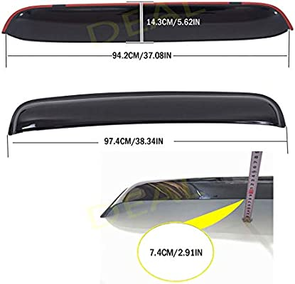 Dark Smoke Tint Tape-On Type Moon Roof Visor Windflector 1-Piece Set For The Model From 37 To 42 Sunroof Moonroof Only DEAL 43 Wide Universal Sun Roof Visor Wind Deflector