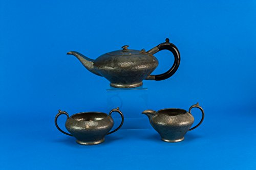 Vintage Art Deco Hammered Pewter Tea Set Teapot Sugar Bowl Creamer My Lady Medium Party Grey English 1930s LS