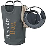 The Fine Living Co USA - Lights and Darks Laundry Hamper Bag - Two Sections for Laundry Sorting - Aluminium Handles, Large Up to 15% Bigger Than Other Bags