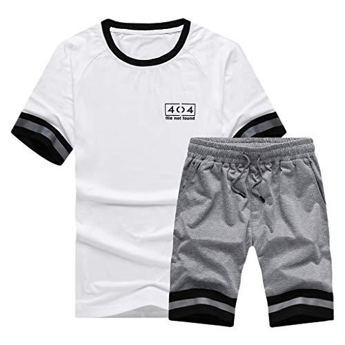 Stoota Fashion Men's Short Sleeved Shorts Suit with Shoulder Slip Stripe Tee Gray -