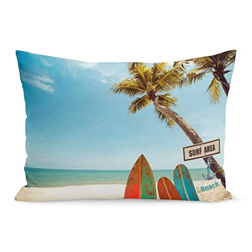 Semtomn Throw Pillow Covers Blue Surfboard Vintage Surf Board Palm Tree on Tropical Beach in Summer Color Tone Green Retro Pillow Case Cushion Cover Lumbar Pillowcase for Couch Sofa 20 x 26 inchs