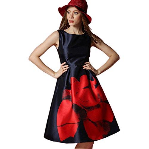 Cocktail Robe Rouge Femme Sans Manche Yomeni HxdSwqx