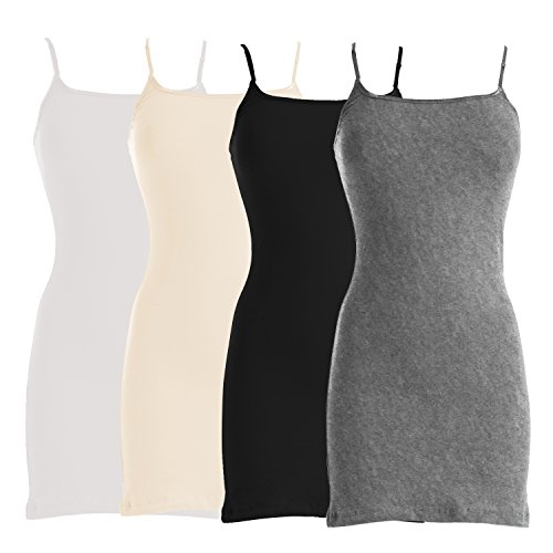 VIV Collection Four-Pack of Basic Spaghetti Strap Cami Cotton Tank Top (X-Large, White/Beige/Black/Heather Gray)