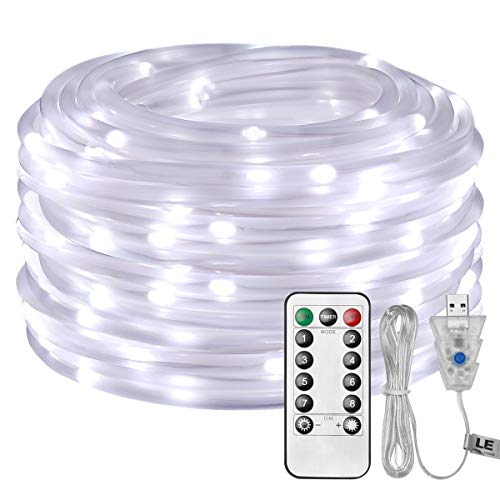LE LED Rope Light with Remote, USB Powered, Dimmable, Daylight White, Waterproof, 33ft 100 LED Indoor Outdoor Light Rope and String for Deck, Patio, Bedroom, Boat, Camping, Landscape Lighting and More