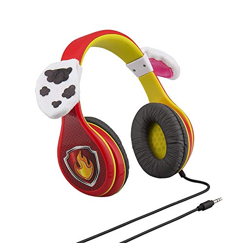 Paw Patrol Marshall Kids Headphones, Adjustable Headband, Stereo Sound, 3.5Mm Jack, Wired Headphones for Kids, Tangle-Free, Volume Control, Foldable, Childrens Headphones Over Ear for School Home, Tra