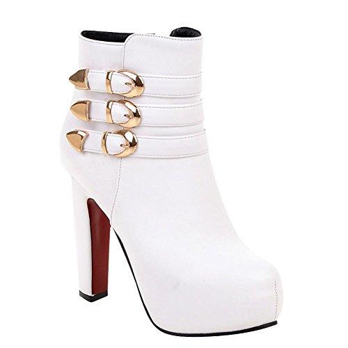Mee Shoes Damen high heels Reißverschluss Stiefel Weiß