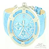 Jeans Style Leather Band Sky Blue Mens Russo Aqua Master 3 Dial Stencil Watch