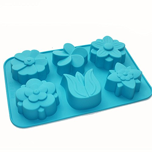 X-Haibei Elegant Mixed Tulip Daisy Flower Soap Silicone Mold for Muffin Candle (Flower Soap Candle Mold)