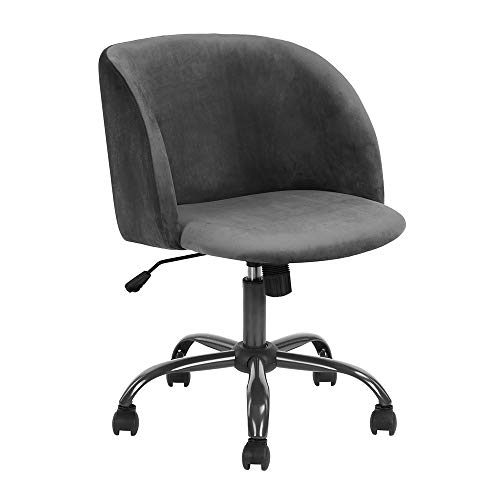 (Homy Casa Swivel Desk Chair Task Chair Scandinavian Computer Chair Height Adjustable Upholstered Velvet Fabric Seat with 360 Degree Castor Wheels (Grey))